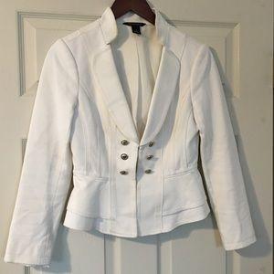 WHBM military style white blazer Size 0